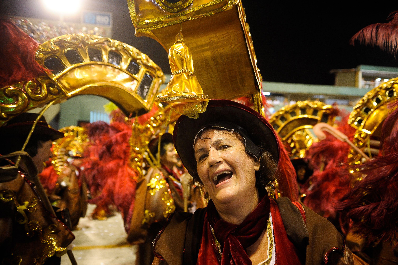 Rio de Janeiro - Acadêmicos do Grande Rio, a quarta escola do grupo especial do Carnaval do Rio,homenageia o Santos, com famosas e citações a Pelé e Neymar (Tomaz Silva/Agência Brasil)